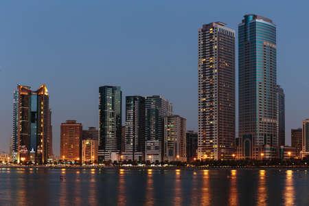 sharjah: SHARJAH, UAE - NOVEMBER 01: Night view of Sharjah, on November 01, 2013. Sharjah is located along northern coast of Persian Gulf on Arabian Peninsula