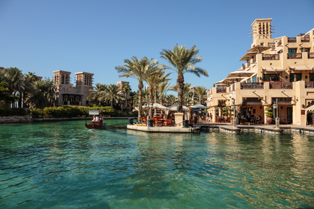 DUBAI, UAE - NOVEMBER 7: Views of Madinat Jumeirah hotel, on November 7, 2013, Dubai, UAE. Madinat Jumeirah - luxury 5 star hotel with own artificial canals and boats.