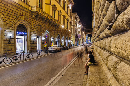 FLORENCE, ITALY - 24 JUNE, 2014: Night street in downtown