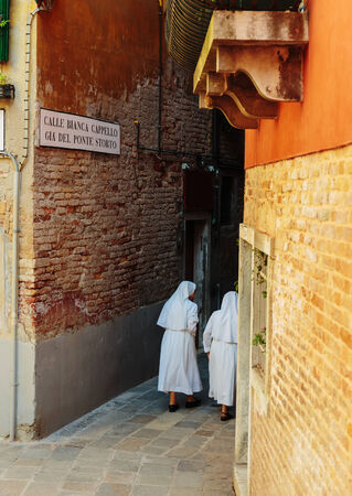 nuns: Two Nuns on the street in Venice in Italy Stock Photo
