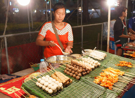 phuket food: PHUKET, THAILAND - FEBRUARY 10, 2013: Outdoor kitchen at night in the south of Thailand