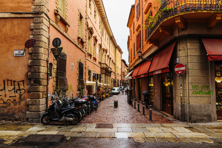 cobbled: BOLOGNA, ITALY - 25 JUNE, 2014: General view of the downtown streets