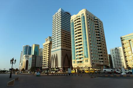 industrialized: SHARJAH, UAE - NOVEMBER 6, 2013: Modern buildings in Sharjah. It is the most industrialized emirate in UAE.