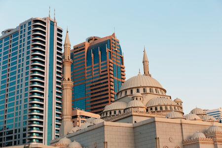 persian gulf: Sharjah - general view. Sharjah is located along northern coast of Persian Gulf on Arabian Peninsula Stock Photo