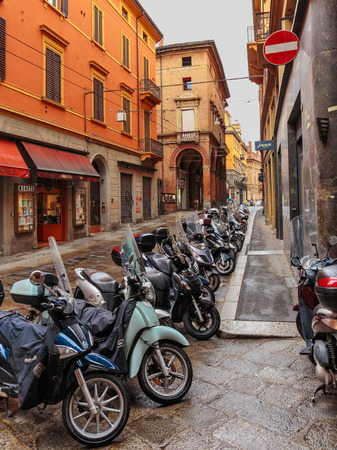 BOLOGNA, ITALY - JUNE 25, 2014: General view of the downtown streets