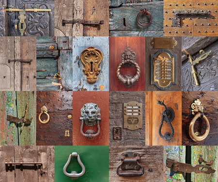 door handle: Old vintage door handles and deadbolt, set