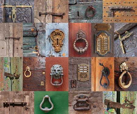 Old vintage door handles and deadbolt, set