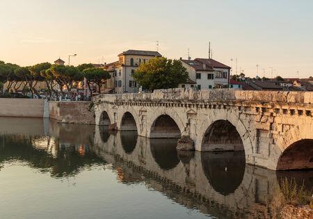 rimini: Bridge of Tiberius in Rimini Italy.