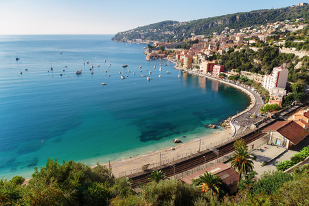 d'azur: Panoramic view of Cote dAzur near the town of Villefranche-sur-Mer