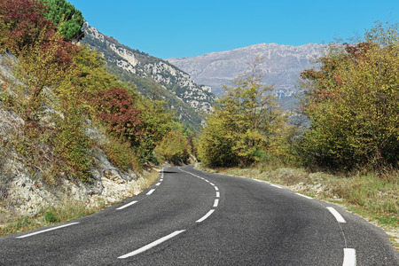 hochalpenstrasse: Winding road in the mountains of the Alpes-Maritimes in France