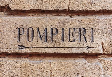bologna: Pompieri street sign. Bologna Italy Stock Photo