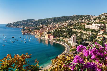 Panoramatický výhled na Azurovém pobřeží v blízkosti města Villefranche-sur-Mer Reklamní fotografie