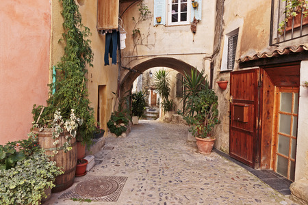 alpes maritimes: Narrow street with flowers in the old town Coaraze in France