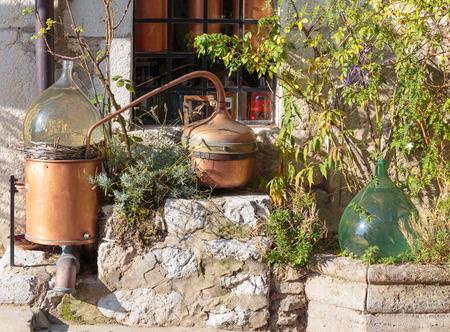 Ancient perfume laboratory in the village Gourdon, France 版權商用圖片