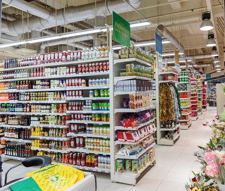 DUBAI, UAE-NOVEMBER 3, 2013: Interior food supermarket