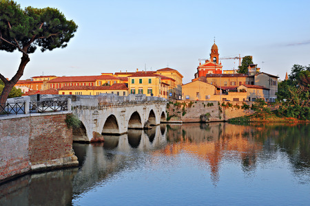rimini: Bridge of Tiberius in Rimini, Italy.