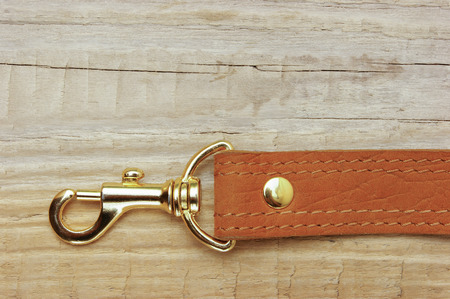 strap on: leather strap with carabiner on a wooden board
