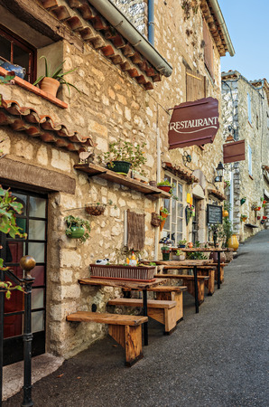 coffee houses: Street cafe in the old French town