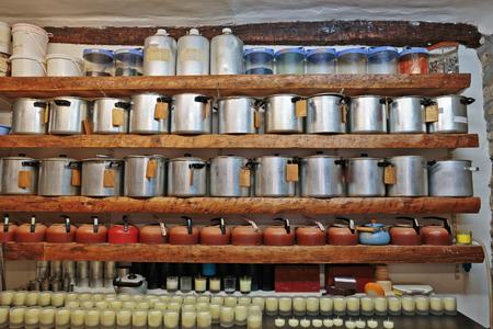 france perfume: Ancient perfume laboratory in the village Gourdon, France Stock Photo
