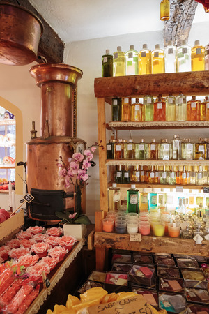 france perfume: GOURDON, FRANCE - OCTOBER 31, 2014: Ancient perfume laboratory in the village Gourdon, France Editorial