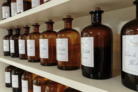 french perfume: GRASSE, FRANCE - OCTOBER 31, 2014: Hall presentations perfume to the factory Fagonard Editorial