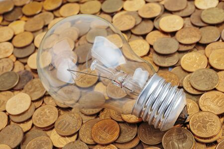 incandescent: incandescent lamp  on coins