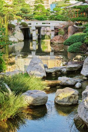 carlo: Japanese garden in Monte Carlo, Monaco Stock Photo
