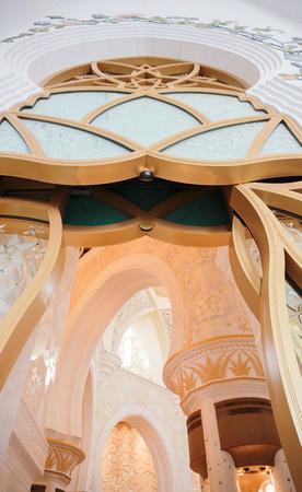 ABU DHABI, UNITED ARAB EMIRATES - NOVEMBER 5: Decorative element in the Sheikh Zayed Grand Mosque on November 5, 2013 in Abu Dhabi, UAE. The famous Sheikh Zayed mosque is the largest mosque in UAE
