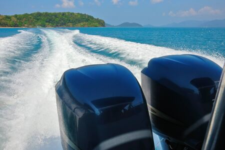 astern: Wake of speed boat Stock Photo