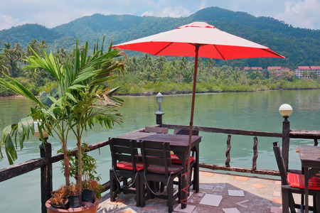 bao: Cafe on the veranda in the fishing village of Bang Bao tropical island of Koh Chang Stock Photo
