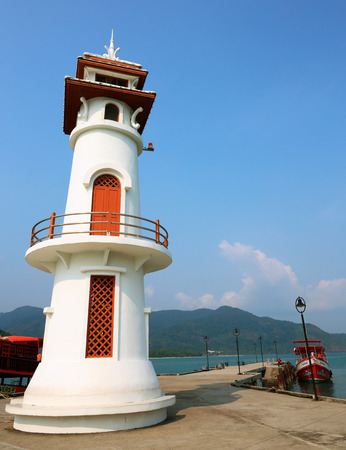 mart: KOH CHANG, THAILAND - MART 26,  2015:  Lighthouse on a Bang Bao pier on Koh Chang Island in Thailand