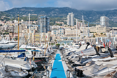 MONACO - NOVEMBER 2, 2014: Panoramic view on marina and residential buildings in Monte Carlo