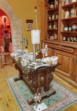 perfumer: GRASSE, FRANCE - OCTOBER 31, 2014: Old workplace perfumer