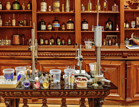france perfume: GRASSE, FRANCE - OCTOBER 31, 2014: Old workplace perfumer