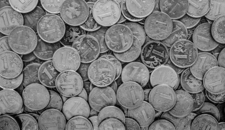 rubles: Russian money - coins rubles , background Stock Photo