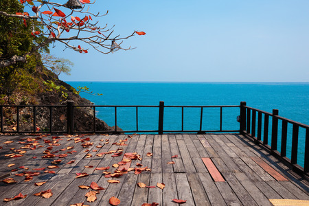 Terrace on a rock by the sea