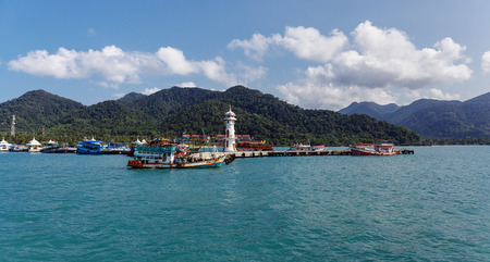 chang: KOH CHANG, THAILAND - MART 30,  2015:  Lighthouse on a Bang Bao pier on Koh Chang Island in Thailand