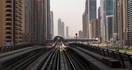 2 november: DUBAI, UAE - NOVEMBER 2: Dubai Metro as worlds longest fully automated metro network (75 km) on November 2, 2013, Dubai, UAE. Editorial