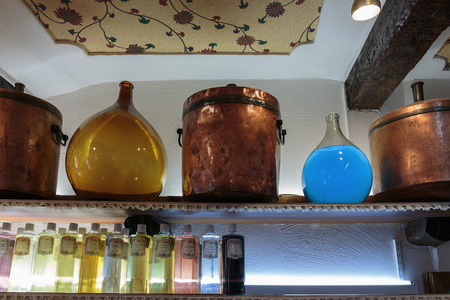 france perfume: GOURDON, FRANCE - OCTOBER 31, 2014: Ancient perfume laboratory in the village Editorial