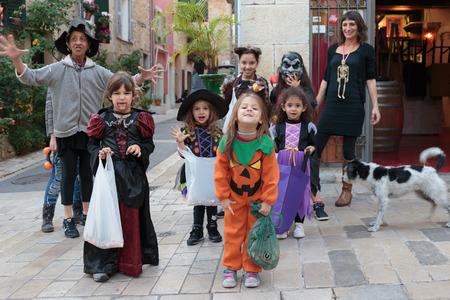 VALBONNE, FRANCE - OCTOBER 31, 2014: Children on Halloween