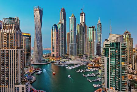 persian gulf: DUBAI, UAE - NOVEMBER 2: Dubai Marina at Dusk from the top, on November 2, 2013, Dubai, UAE. In the city of artificial channel length of 3 kilometers along the Persian Gulf. Editorial