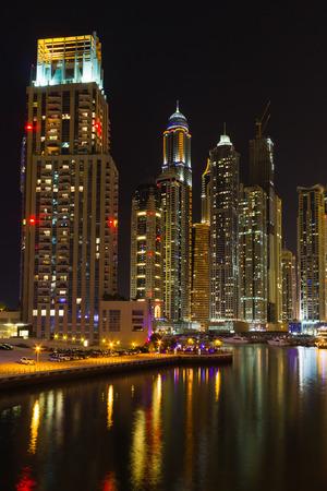 persian gulf: DUBAI, UAE - NOVEMBER 14: Dubai Marina at night, on November 14, 2012, Dubai, UAE. In the city of artificial channel length of 3 kilometers along the Persian Gulf.