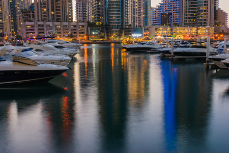 persian gulf: DUBAI, UAE - NOVEMBER 16: Dubai Marina at night, on November 16, 2012, Dubai, UAE. In the city of artificial channel length of 3 kilometers along the Persian Gulf. Editorial