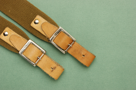 strap: leather strap with a buckle on a green background