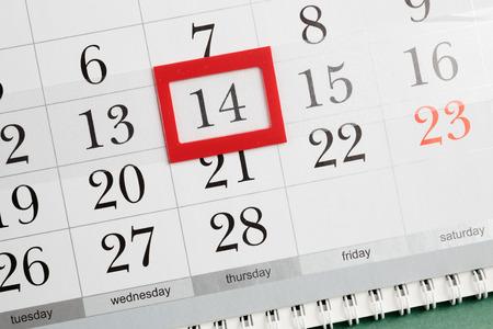 february 14: Valentines Day on the calendar, February 14 Stock Photo