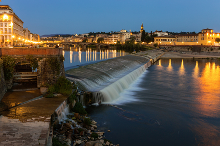 river arno: Embankment of the river Arno in Florence at night Stock Photo