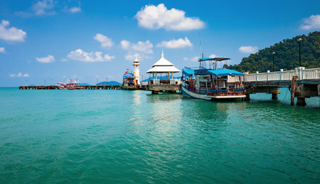 chang: KOH CHANG, THAILAND - APRIL 2, 2015:  Lighthouse on a Bang Bao pier on Koh Chang Island in Thailand Editorial