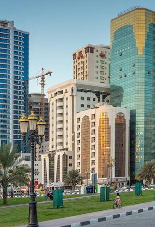 sharjah: SHARJAH, UAE - NOVEMBER 6: Sharjah - general view, on November 6, 2013. Sharjah is located along northern coast of Persian Gulf on Arabian Peninsula