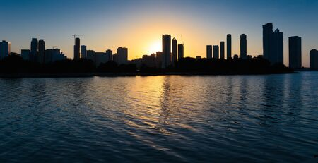 sharjah: Night view of Sharjah, on November 6, 2013. Sharjah is located along northern coast of Persian Gulf on Arabian Peninsula
