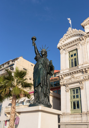 replica: NICE, FRANCE - OCTOBER 30, 2014: Replica of Statue of Liberty in New York, unveiled in Nice